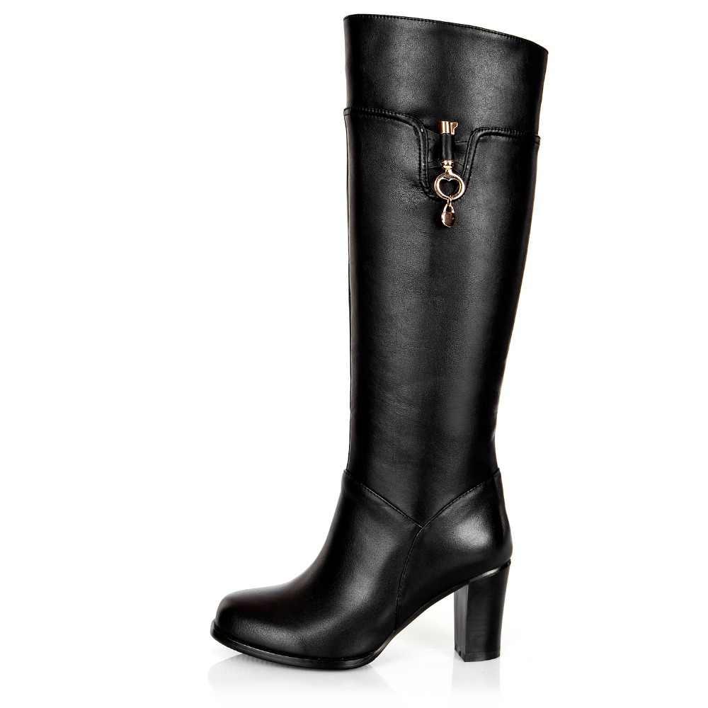 Kadın kış kalın yüksek topuk hakiki deri yuvarlak ayak moda diz yüksek şövalye çizmeler artı boyutu 33-45 SXQ1007