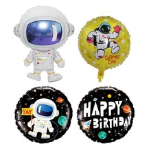 1pcs Black Gold Astronaut Aluminum Foil Balloons Babyshower Globos Happy Birthday Party Decorations Kids Outer Space The Balls