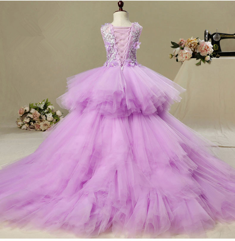 Elegant Long Trailing Appliques First Communion Dress Purple Tulle Ball Gown Kids Pageant Gown Flower Girl