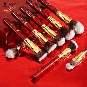 Image 4 - DUcare Makeup Brushes 27Pcs Classic red Professional Makeup Brush Set Premium Synthetic Goat Pony Hair Blending Brush MakeUp Kit