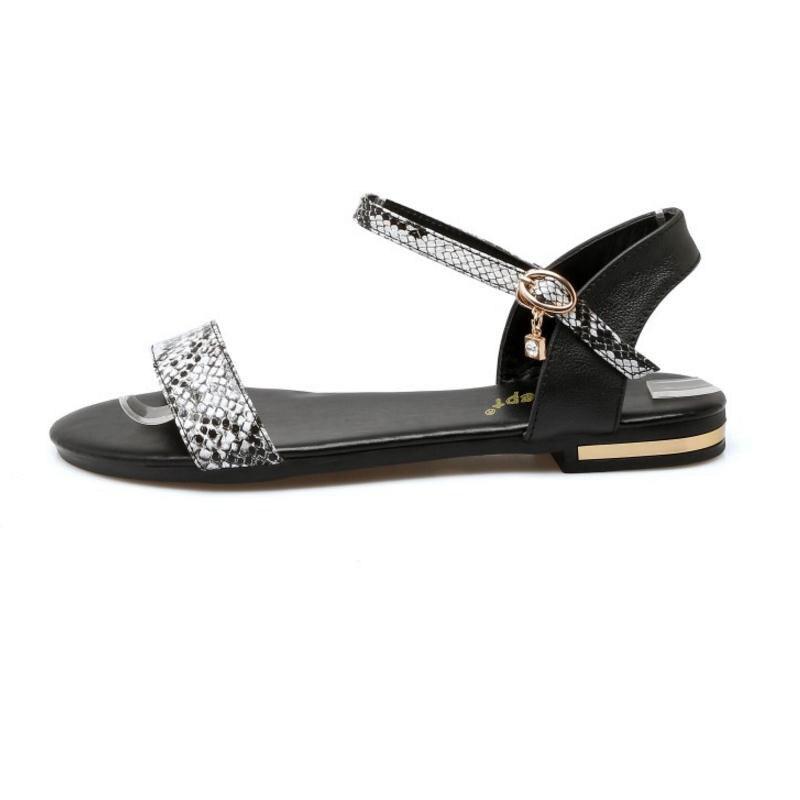 Negro Para Sandalias Zapatos 43 Cuero Del De Pie Abierto Sexy blanco Real Vacaciones 33 Serpiente Mujer Hebillas Coolcept Tamaño Tobillo Correa Playa Dedo Calzado FBqIxSq