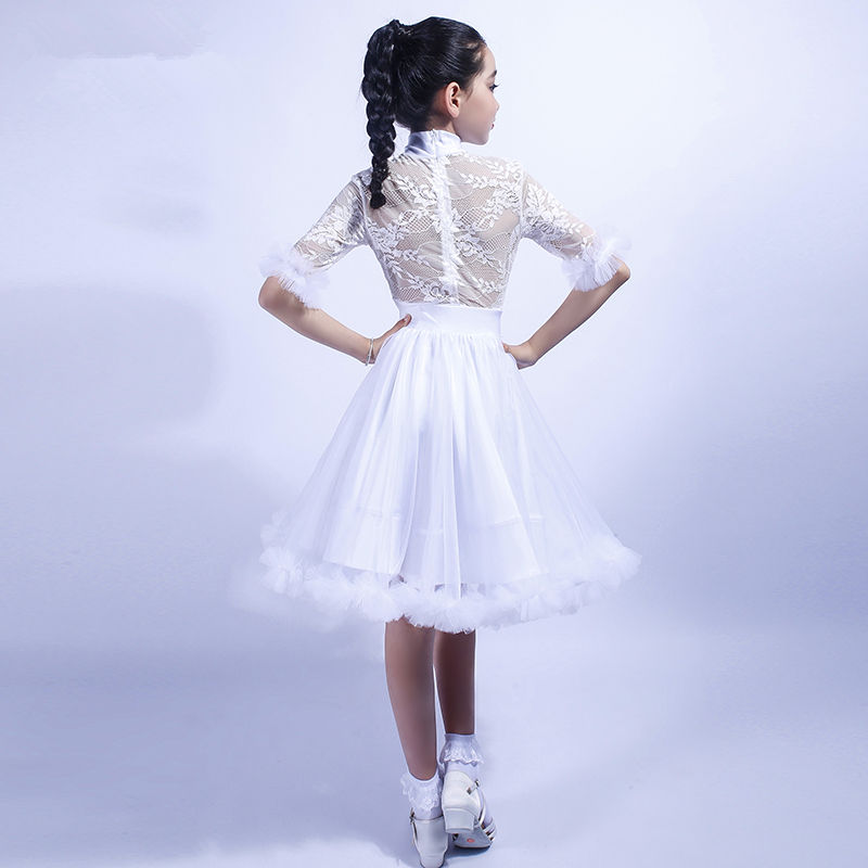 Image 4 - Girls Latin Dance Dress Tops + Skirt Ballroom Dance Dress for Kids Dancewear Child Tango Samba Dance Costumes Stage Performance-in Latin from Novelty & Special Use