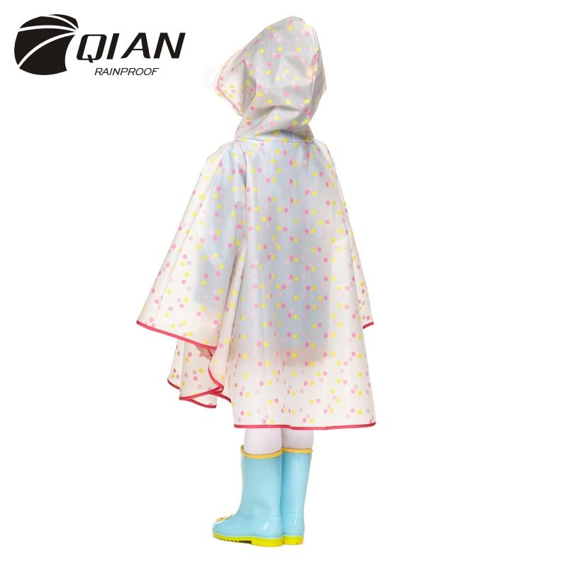QIAN กันฝน I Mpermeable เด็กเสื้อกันฝนพลาสติกใส EVA เสื้อกันฝนกันน้ำเด็กชุดกันฝนเสื้อกันฝนฝนเกียร์