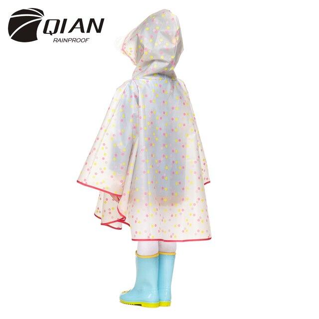 QIAN RAINPROOF Impermeable Children Raincoat Plastic Transparent EVA Rain Coat Waterproof Kids Rainwear Rain Gear Poncho