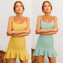 Summer new popular yellow European and American high waist sexy cotton linen dress casual tight women ruffled