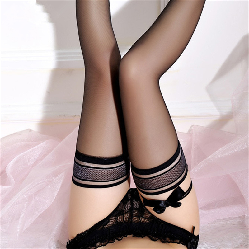 Black Bowknot Sexy Stockings Lace Top Stay Up Stocking Women Sheer Thigh High Stockings Erotic Lingerie Pantyhose