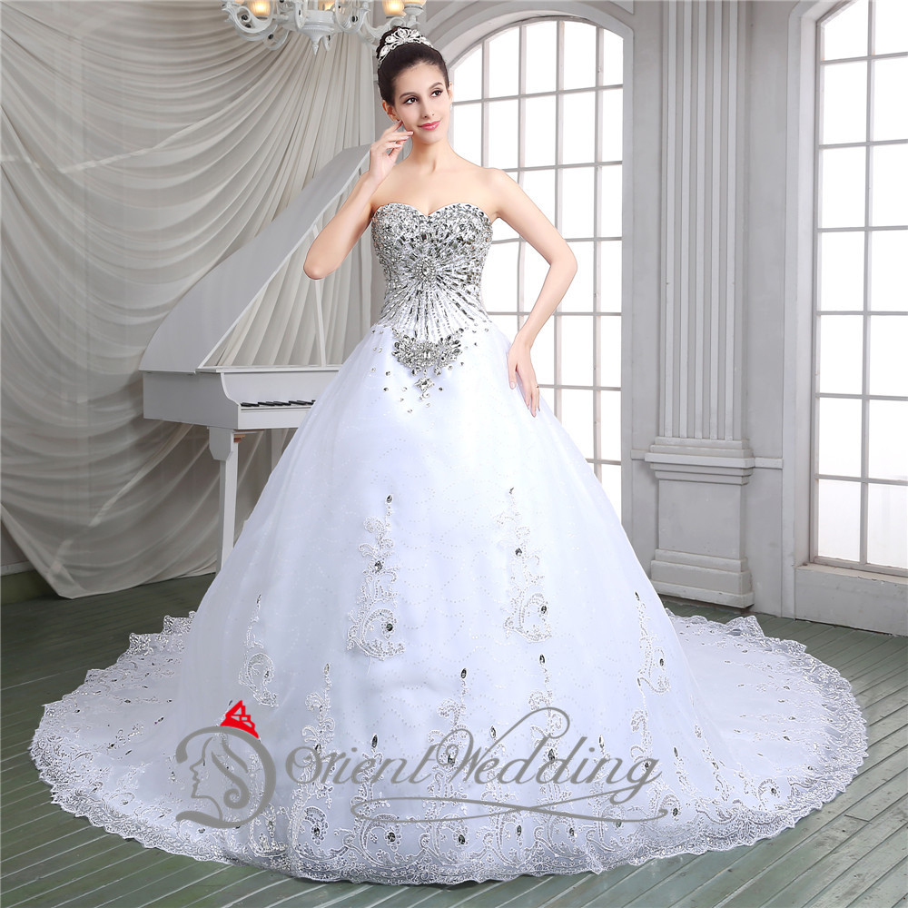 Luxurious Sparkle Crystal Bodice Ball Gown Sweetheart Cathedral Rayal Train Organza And Tulle Wedding Dresses In From Weddings Events On