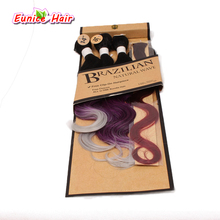 Brazilian Hair Bundles Synthetic Body Wave Ombre Colors Wavy With Closure 18 20 22 Inch Natural Hair Extensions For Black Women