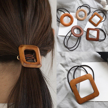 Korea Chic Retro Circle Wood Hair Ring Elegant Geometric Rubber Band Accessories Head Rope