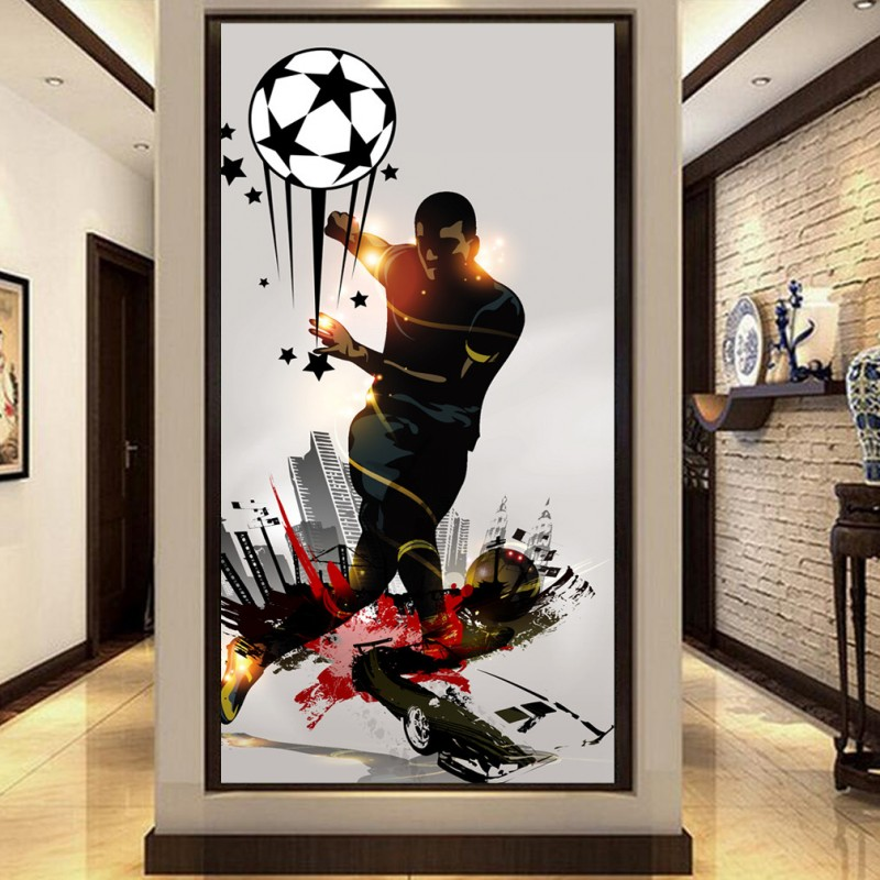 Custom photo wallpaper Football nostalgic movement tooling entrance home decoration Wallpaper custom high definition mural free shipping european football club football star messi portrait wallpaper mural