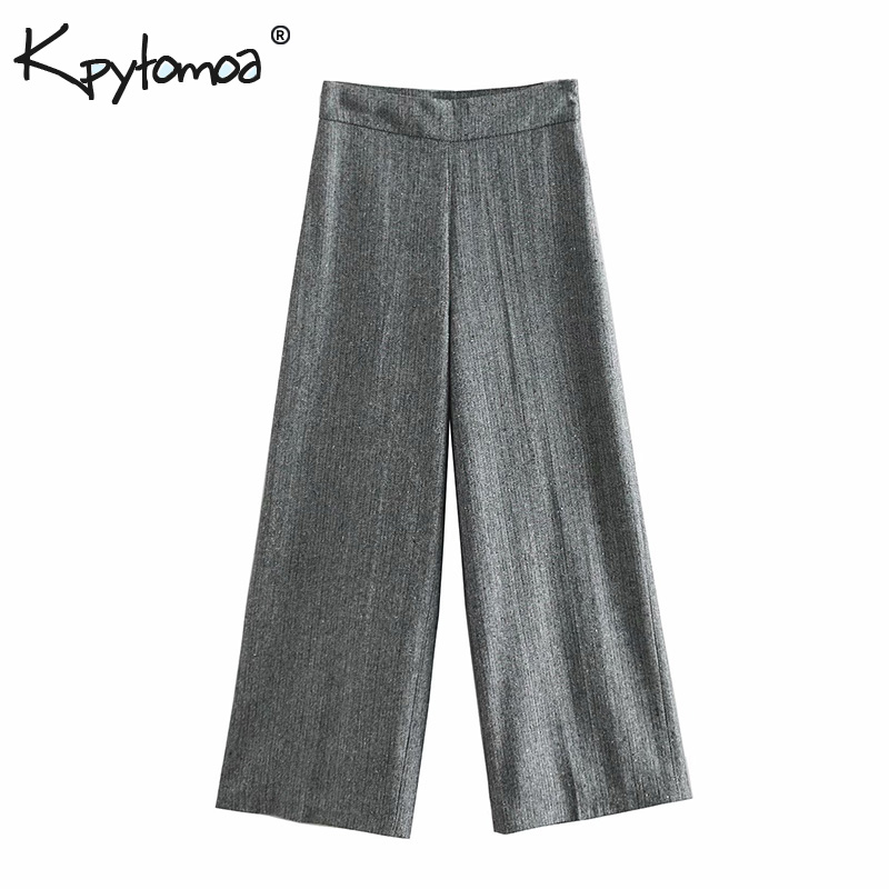 Vintage Stylish Twill   Wide     Leg     Pants   Women 2019 Fashion Side Zipper High Waist Loose Ladies Ankle Trousers Casual Pantalon Mujer