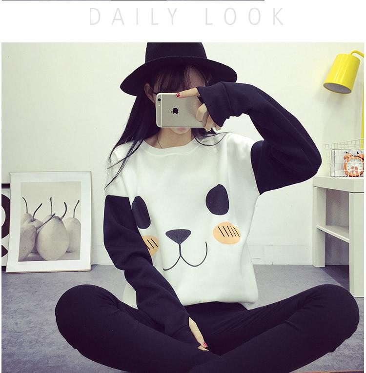 New College Wiatr Kobiety Bluzy Moda Cartoon Panda Bluzy Dorywczo Drukowane Mieszane Kolor Harajuku Dresy Kobiet Sudaderas 3