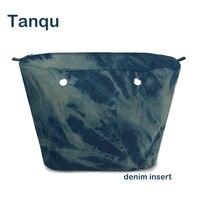 Tanqu Classic Mini Denim Fabric Waterproof Denim Inner Pocket For O Bag Insert Lining For Obag
