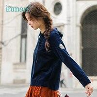 INMAN 2018 Autumn embroidery long sleeve short Sweatshirt woman Hoodies