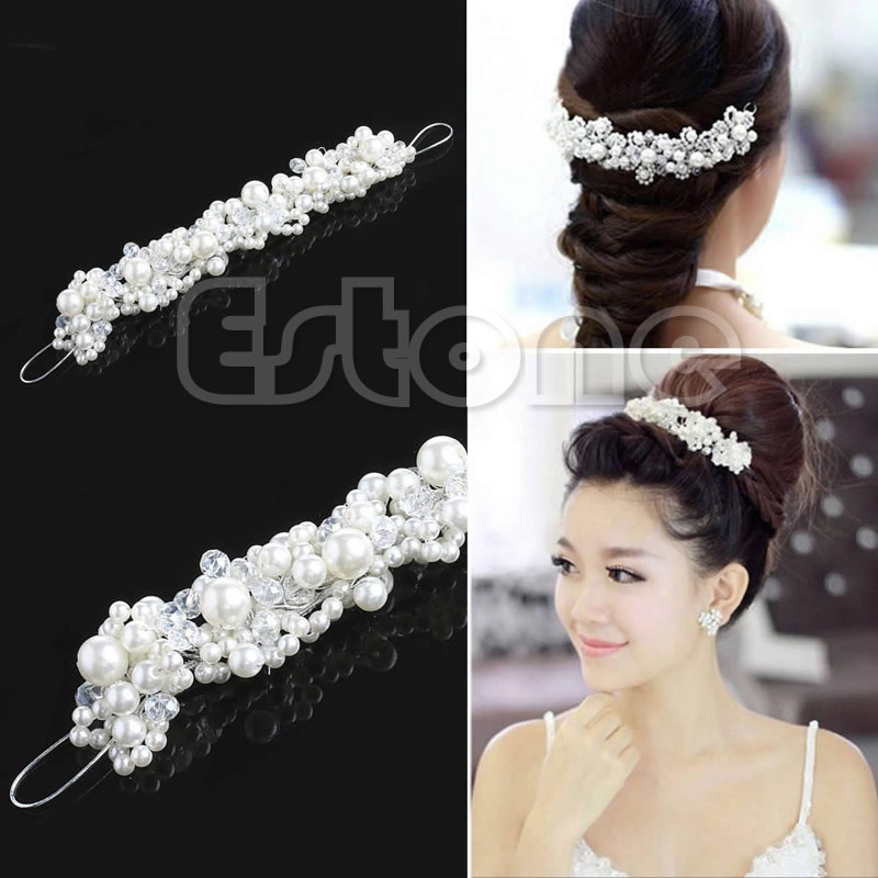 Rhinestone Faux Pearl Bridal Prom Headband Tiara Headpiece Hair Clip Wedding   Headwear