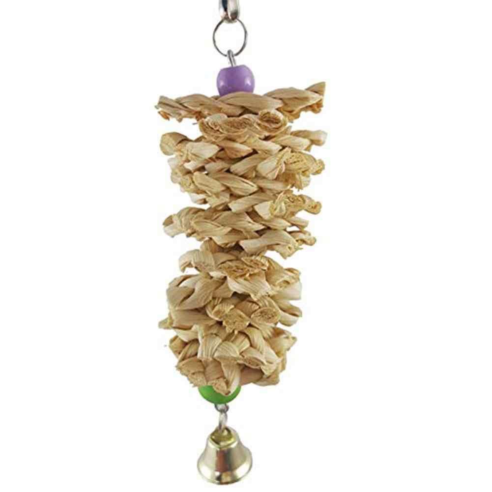 Saideng pássaro papagaio brinquedo com sino de madeira natural grama mastigar mordida pendurado gaiola balanço escalada mastigar brinquedos-25