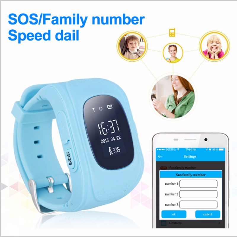 Q50 Children Safety Monitoring Portable GPS Intelligent Watch Telephone Tracker Watch Wrist strap Child English Version 2G SIM