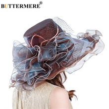 цены BUTTERMERE Women Sun Hat Organza Flower Burgundy Sun Caps Female Elegant UV Ladies Kentucky Derby Church Hats Summer New 2019