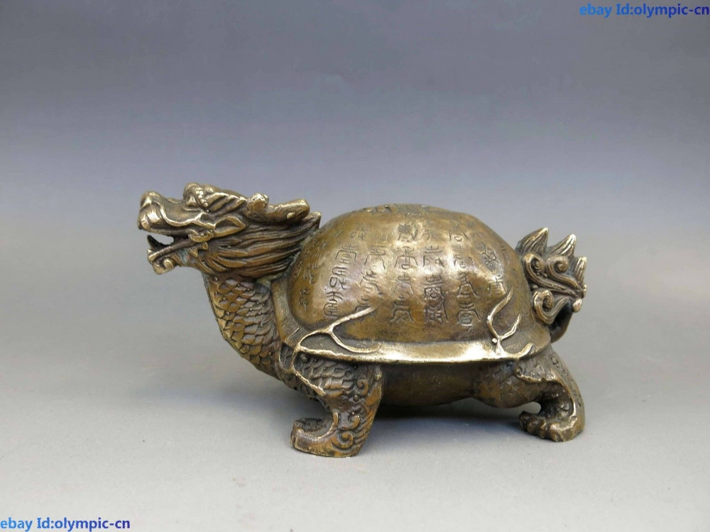 China Brass Feng Shui Copper Chinese Longevity Dragon turtle Sculpture Statue China Brass Feng Shui Copper Chinese Longevity Dragon turtle Sculpture Statue