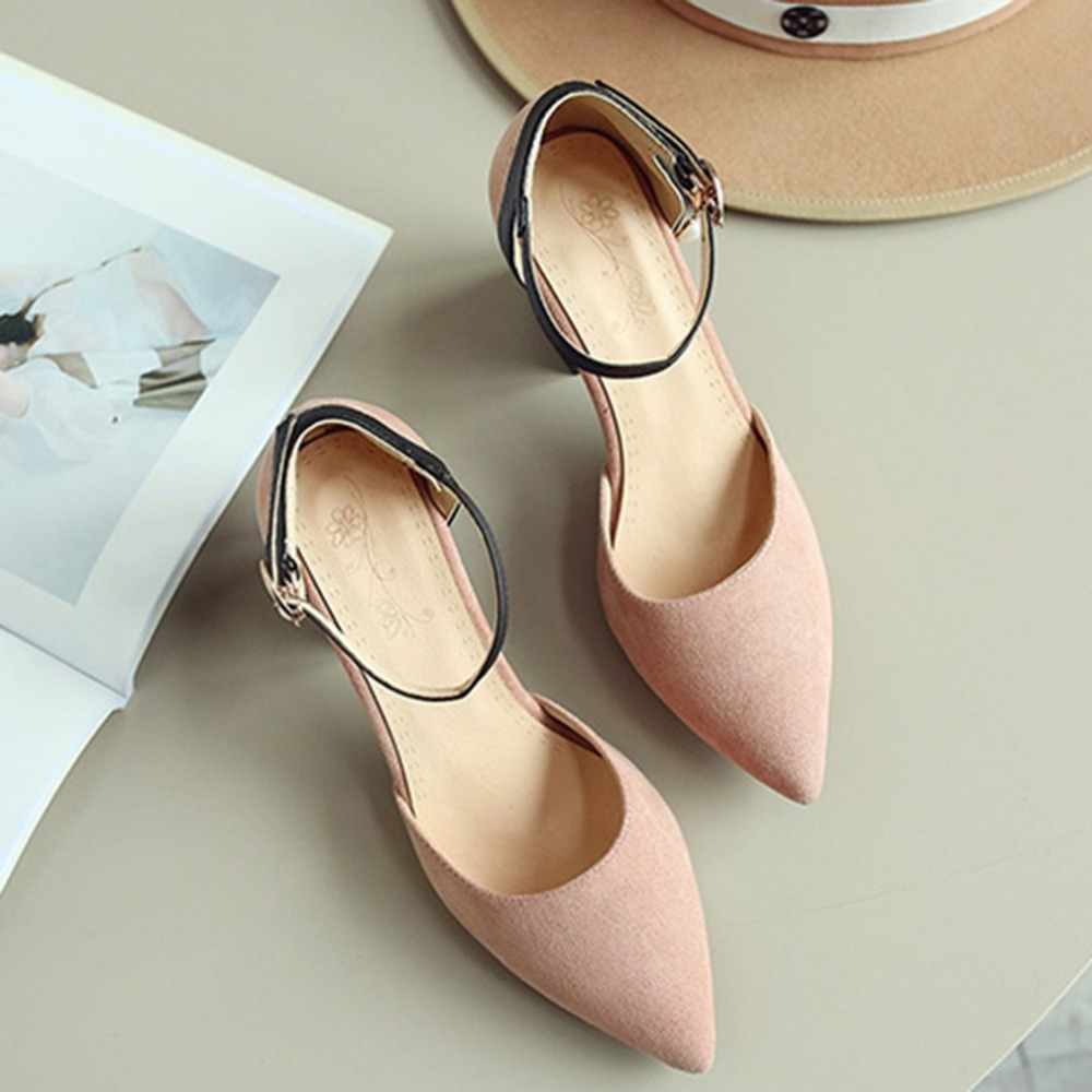 Spring Summer Women Fashion Pointed Toe Shoes Ankle Strap With Pendant Decoration High-heeled Shoes with Chunky Heels pu pointed toe flats with eyelet strap
