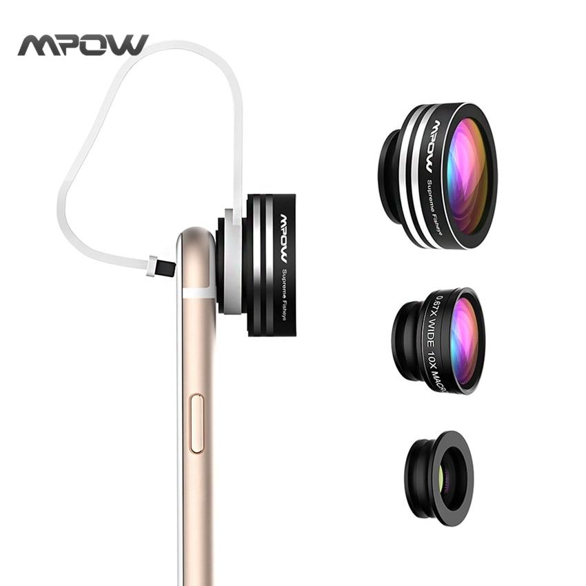 imágenes para Súper MFE1N Mpow 3 en 1 Lente Ojo de Pez 180 Grados Supremo 0.67X lente GRAN Angular Fisheye 10X Lente Macro Teléfono con Clip para iOS Android