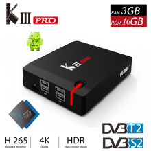 Nueva KIII Pro DVB-S2 Cuadro de TV Android 6.0 DVB-T2 Amlogic S912 Octa core 2.4G/5G WiFi 4 K Smart TV Media Player Miracast Set-top caja