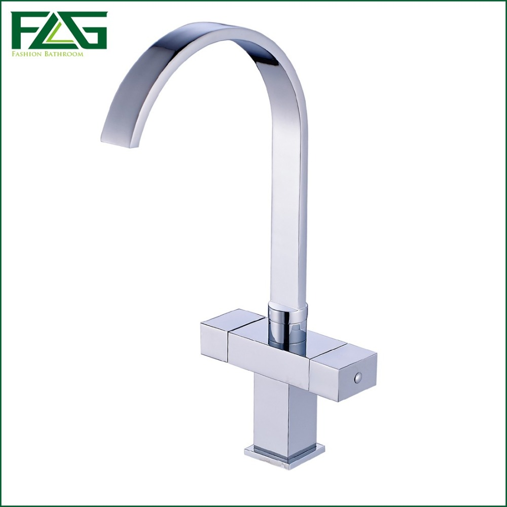 ФОТО Factory Direct Sale Square Kitchen Faucet 360 Degree Rotating Waterfall Kitchen Sink Mixer,Dual Knob Cold And Hot,Robinet C063