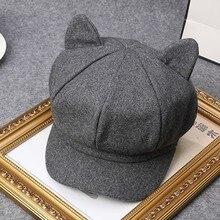Корея осенью и зимой действия милые шерстяные кошачьи уши берет женщина художник шляпу газетчик Шапки корейский восьмиугольная Кепки прилив