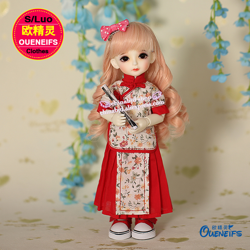 OUENEIFS free shipping Chinese style retro short sleeve organ plait skirt fashion 1/6 girl clothes YF6-104,no bjd sd doll or wig handsome grey woolen coat belt for bjd 1 3 sd10 sd13 sd17 uncle ssdf sd luts dod dz as doll clothes cmb107