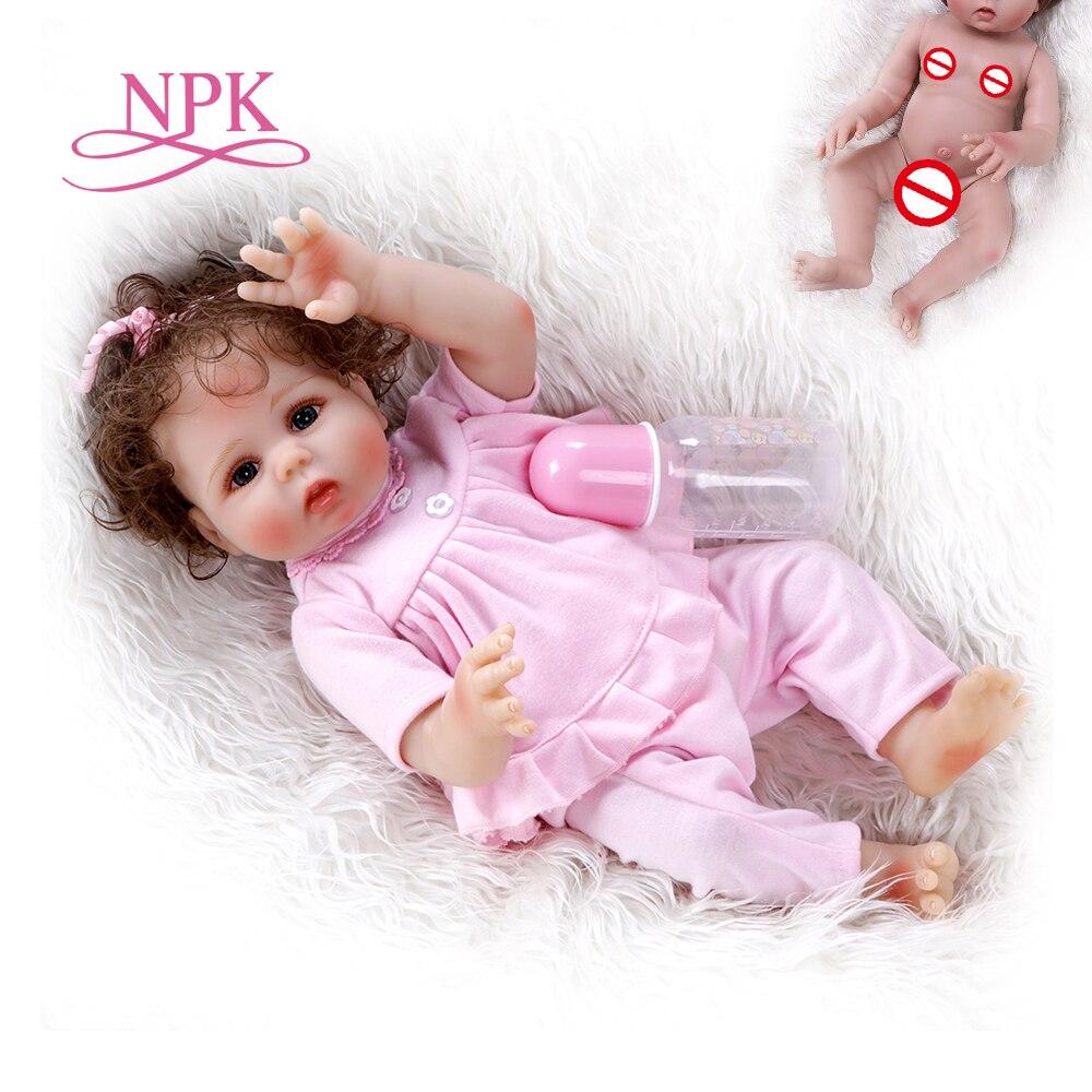 Oyuncaklar ve Hobi Ürünleri'ten Bebekler'de 48 CM preemie bebek boyutu gerçekçi reborn bebe tam vücut yumuşak silikon sevimli bebek Anatomik Olarak Doğru banyo oyuncak pembe elbise'da  Grup 1
