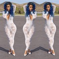 2016 Hot New Fashion Women Party Patchwork Rompers Sexy Club See Through Bodysuits Hollow Out Bandage Bodycon Vestidos Jumpsuits