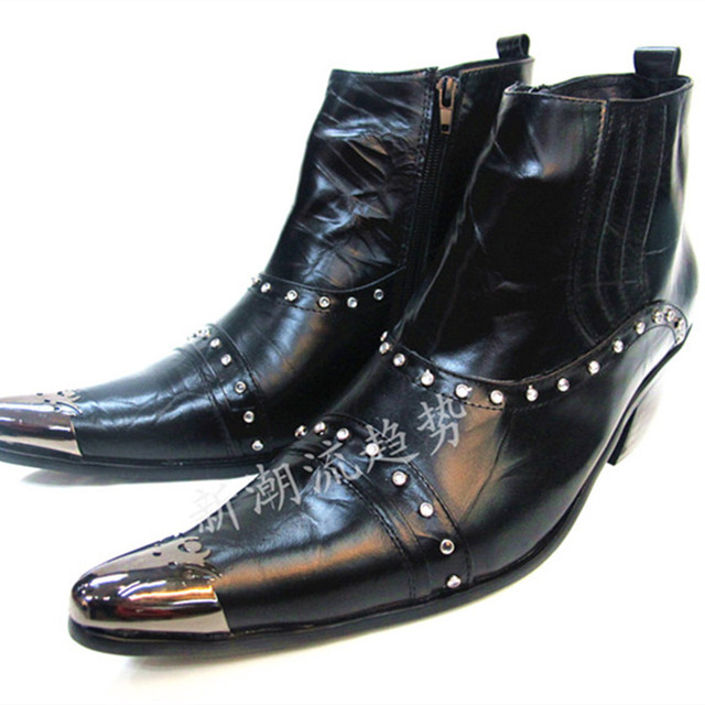 Fashion Punk Men Rivets Rhinestone Ankle Boots Black Genuine Leather  Motorcycle Boots Men Pointed Toe Dress Shoes Plus Size 0395a58bdbd0