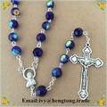 Freeship wholesale 8mm blue crystal glass beads religiour rosary necklace,crystal jewelry catholic rosary chain with alloy cross