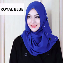 New women's flower print pearls chiffon hijabs muslim islamic scarf scarves long bonnet hijab underscarf caps head covering