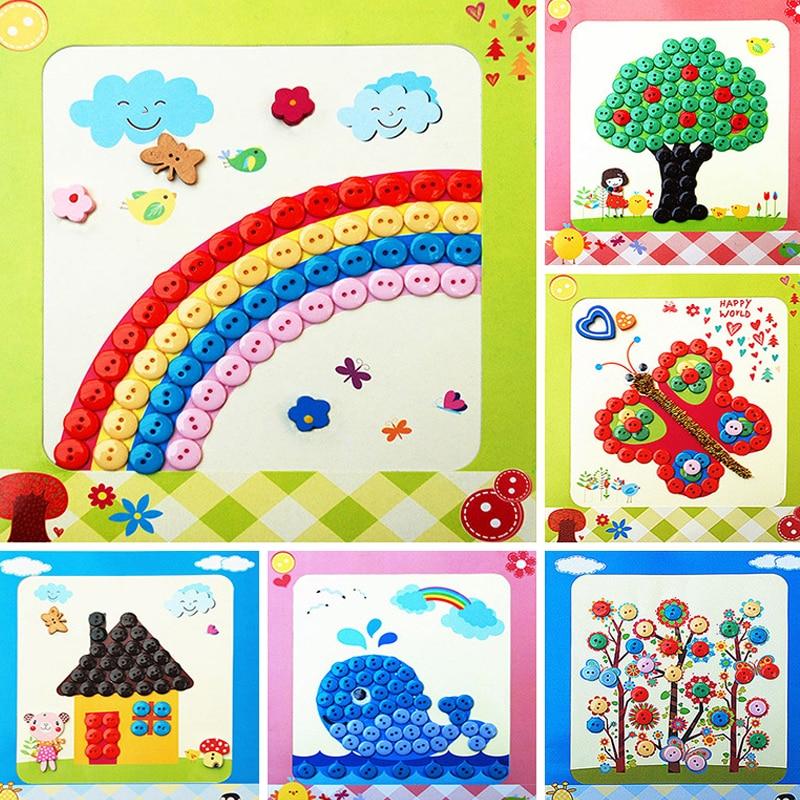 2018 ΝΕΑ DIY Κουμπιά Νηπιαγωγείο Διαδραστικά Παιχνίδια Χειροποίητα Πακέτα Εικόνα Εκπαιδευτικά Παιχνίδια για Αυτοκόλλητα Παιδικά Δώρα