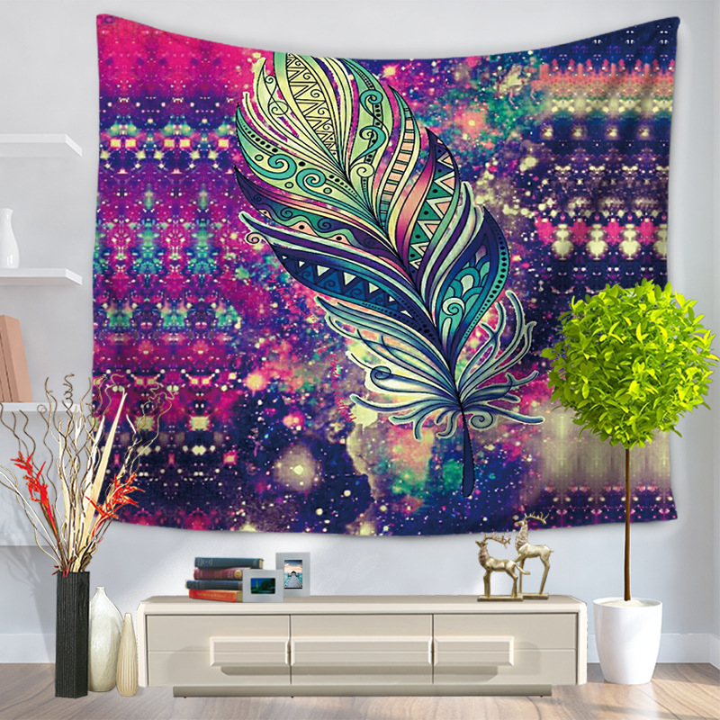 Home Decorative Wall Hanging Carpet Tapestry 130x150cm Rectangle Bedspread Color Painting Geometric feather Pattern GT1019
