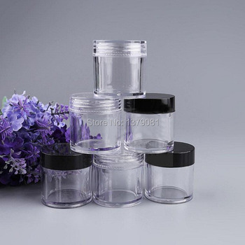 New Arrival 10g Empty Clear Cream jar eye shadow jar Black Cap accessories nail art Tins Mini sample jar Free shipping