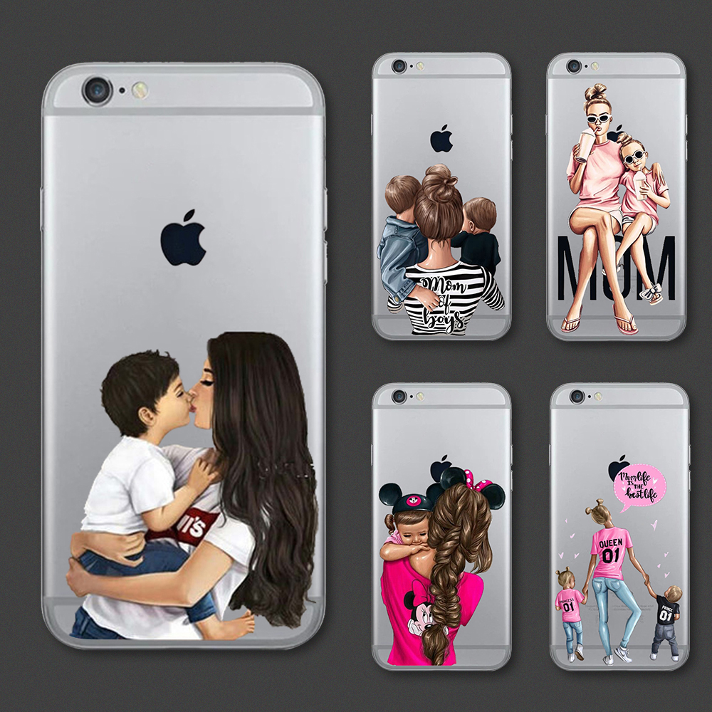 Fashion Black Brown Hair Baby Mom <font><b>Girl</b></font> Queen Case <font><b>For</b></font> <font><b>iPhone</b></font> 11 11Pro Max X XS Max XR 8 7 <font><b>6</b></font> 6s Plus Silicone Woman Phone <font><b>Cover</b></font> image