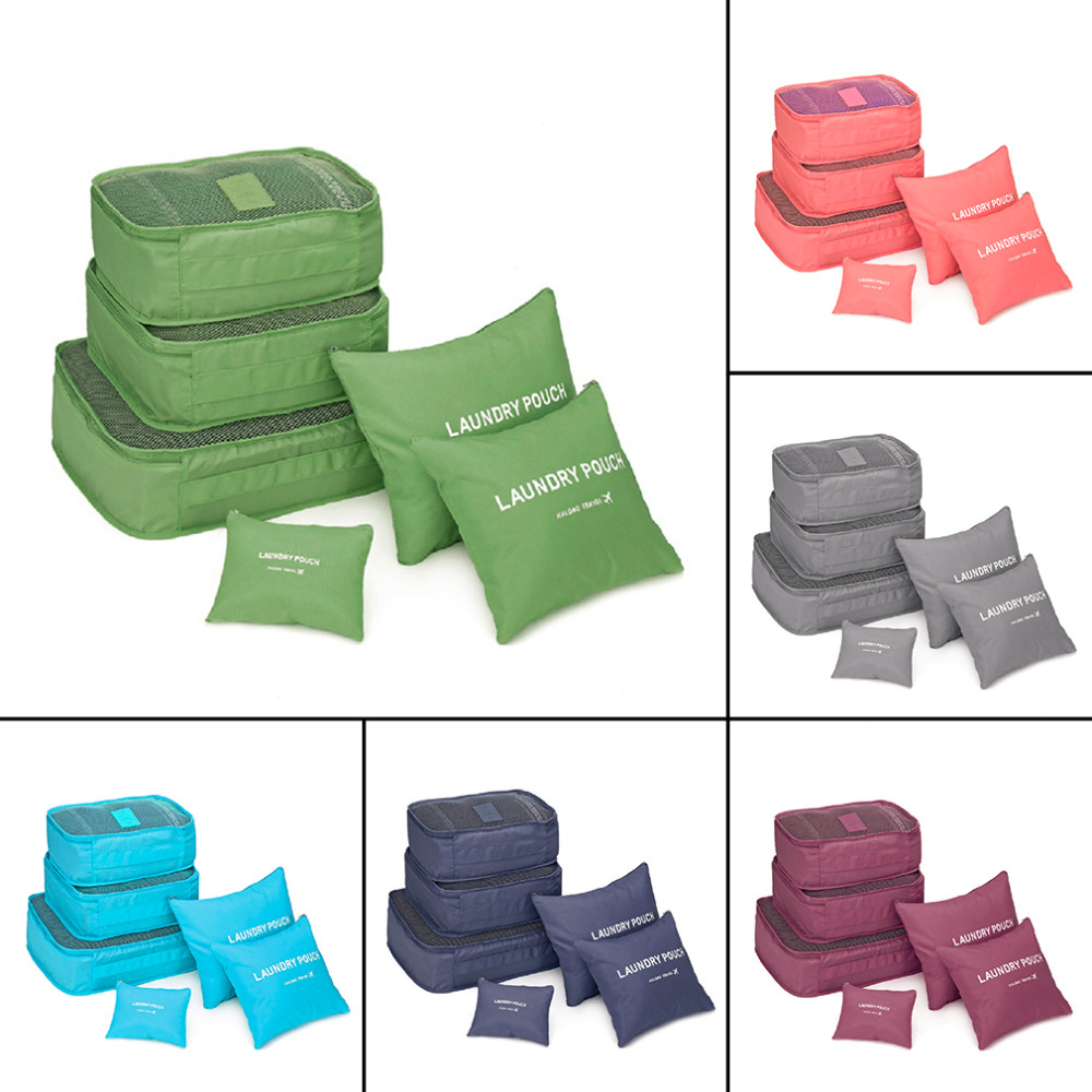 2018 Forró eladó forró eladó koreai stílus 6 db / készlet utazási otthon poggyász tároló táska ruhák tároló szervező hordozható tasak tok