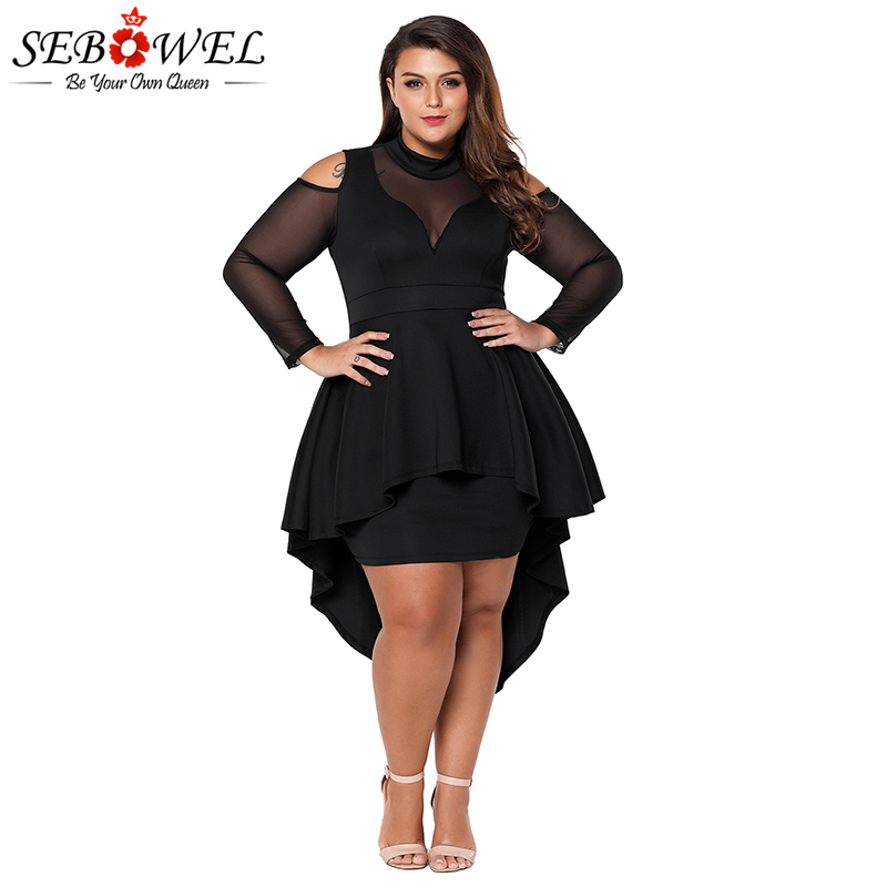 0d602a772b2 SEBOWEL Plus Size Sexy White Mesh Bodycon Dress Women Elegant Black Mesh  Flare Sleeve Party Dress XXXL Big Size Mini Dress 2019-in Dresses from  Women s ...