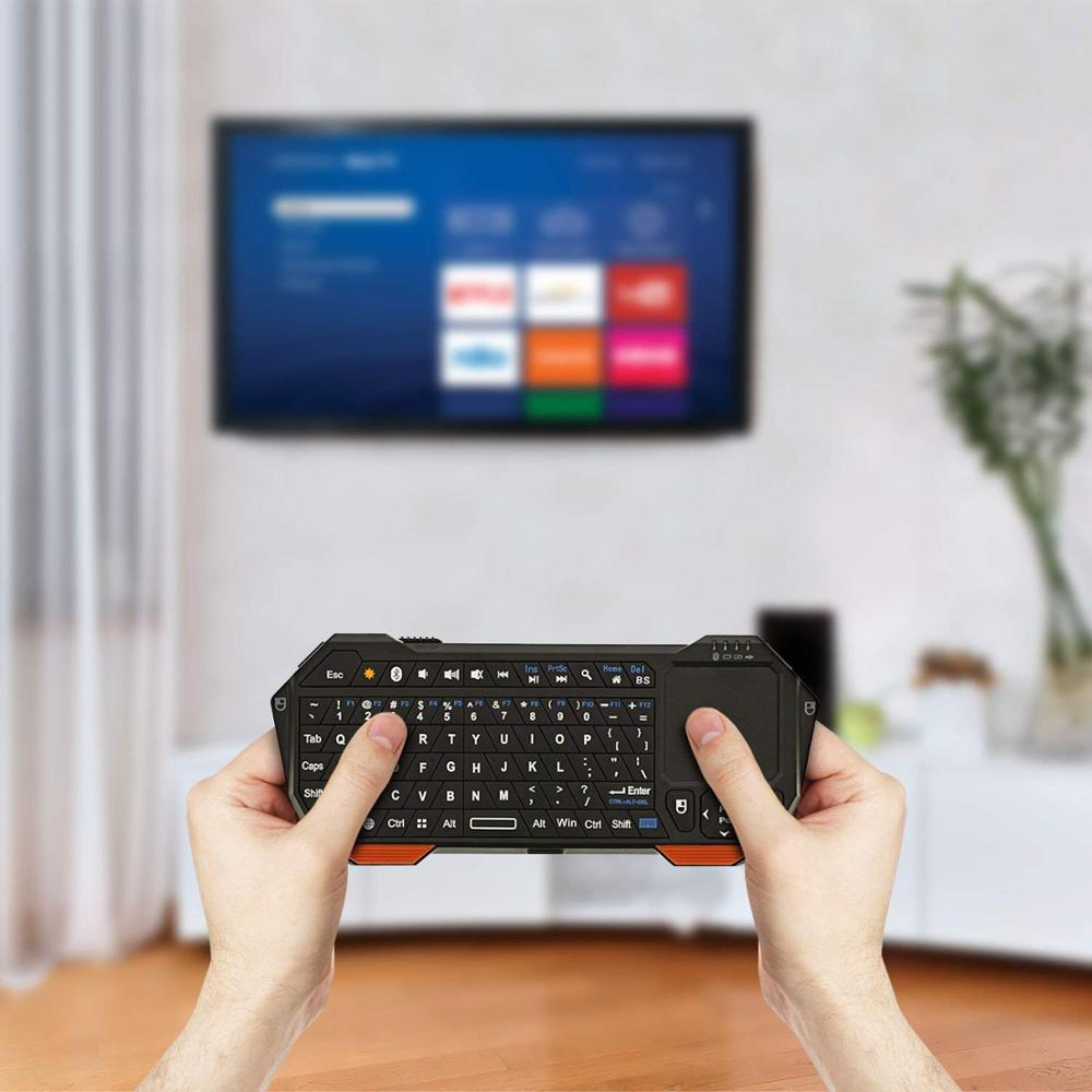 Image 5 - Portable Lightweight Mini Wireless Bluetooth Keyboard Controller keypad/ Built In Touchpad for Apple / Android / Windows Black-in Keyboards from Computer & Office