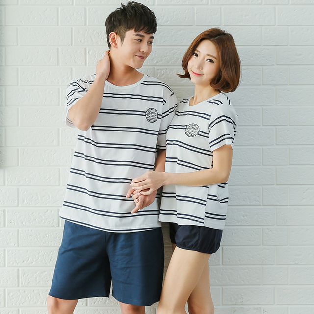 81be416d33f9 Summer style korean couple pajamas set pyjamas men 100% cotton striped  homewear women sleepwear and pijama hombre
