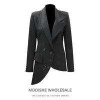 Asymmetrical Hem Neckline Black Blazer Women Coat for Office