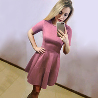 Blue Pleated Dress Suede Vintage Summer Sundress Short Sleeve Green Sexy Evening Party Dresses Robe Spring