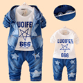 Meninas Da Criança Roupas Meninos Fleece Conjunto Crianças Roupas Jaqueta Com Capuz + Calça Jeans + Camiseta 3 PCS Set Bebê Roupas Queda estrela de cinco pontas-