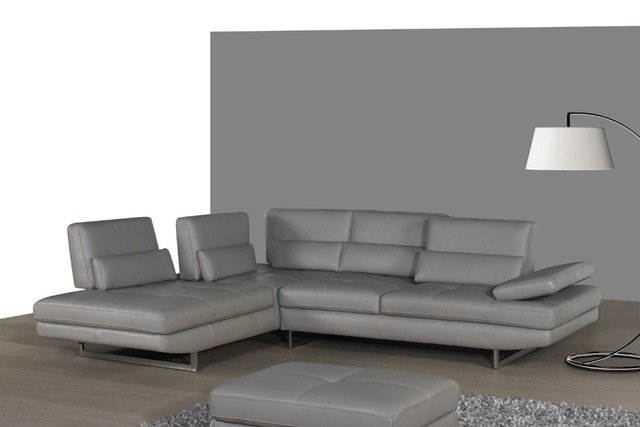 real leather sofa sectional living room sofa corner home furniture couch L shape functional headrest modern stainless steel legs
