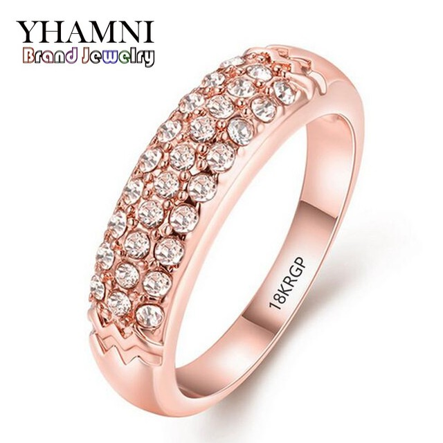 OFF Hot Fashion Gold Ring Engagement Have 18KRGP Stamp Gold