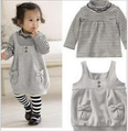 Brand baby girl clothes,new 2016,autumn winter baby clothing set,newborn,baby girl striped bowknot set t-shirt+dress suit