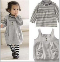Brand Baby Girl Clothes New 2015 Autumn Winter Baby Clothing Set Newborn Baby Girl Striped Bowknot