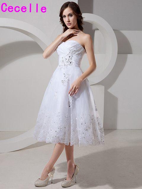 Online Shop 2017 Short White Informal Wedding Dresses Knee Length ...